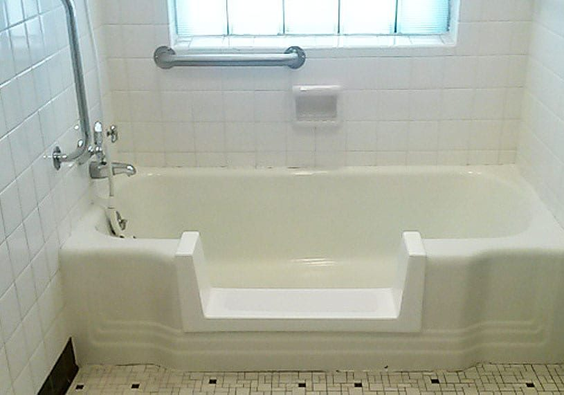 Converted cast iron bump-out tub