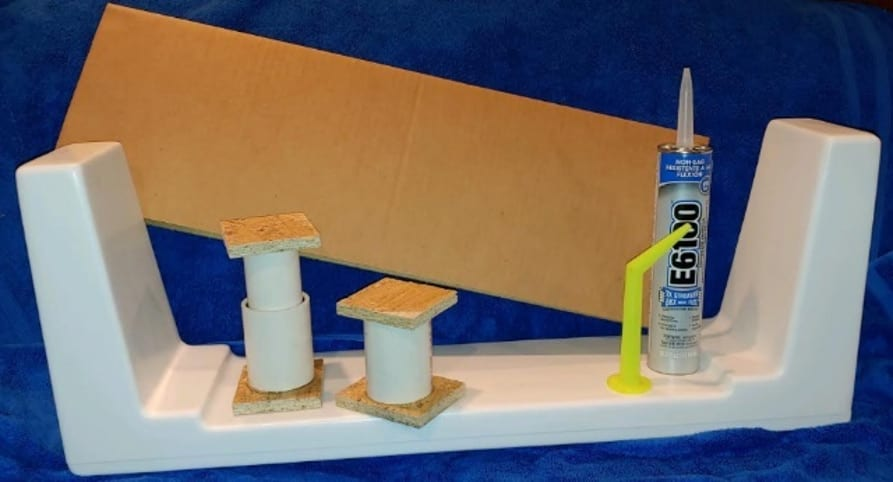 Tub insert, supports, template, and specialized sealing adhesive